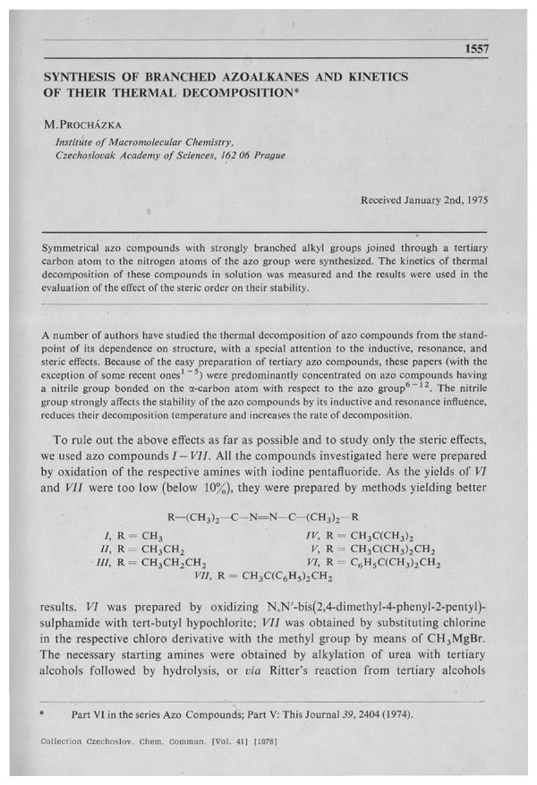 CCCC 1976, Volume 41, Issue 5, Abstracts pp  1557-1564 | Collection